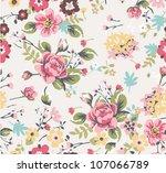 seamless summer floral pattern | Shutterstock .eps vector #107066789