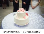 elegant cake with roses on... | Shutterstock . vector #1070668859