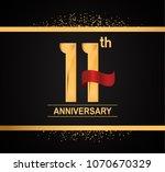 11th anniversary golden design... | Shutterstock .eps vector #1070670329