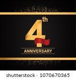 4th anniversary golden design... | Shutterstock .eps vector #1070670365