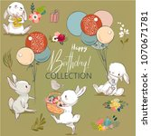 cute birthday hares collection | Shutterstock .eps vector #1070671781