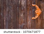wooden gate with wrought iron... | Shutterstock . vector #1070671877