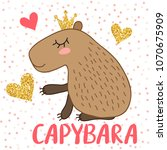 cute cartoon capybara...   Shutterstock . vector #1070675909