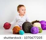 cute little baby girl playin... | Shutterstock . vector #1070677205