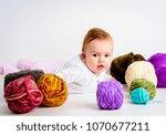 cute little baby girl playin... | Shutterstock . vector #1070677211
