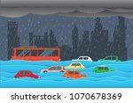 flooding water in city   rain... | Shutterstock .eps vector #1070678369