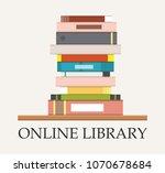 bookshelf with books at white... | Shutterstock .eps vector #1070678684