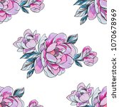 seamless pattern red peonies on ... | Shutterstock . vector #1070678969