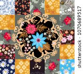 endless patchwork pattern with... | Shutterstock .eps vector #1070689517