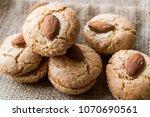 almond cookies on sack  ...   Shutterstock . vector #1070690561