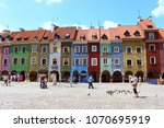 colorful house front on pozna ... | Shutterstock . vector #1070695919