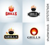 barbecue grill design logo set. ... | Shutterstock .eps vector #1070707604