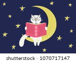 sweet smart white cat reading... | Shutterstock .eps vector #1070717147