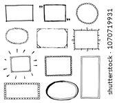 hand drawn set of simple frame... | Shutterstock .eps vector #1070719931