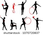 rhythmic gymnastics silhouettes ... | Shutterstock .eps vector #1070720837