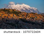 City Of La Paz And Mountain Of...
