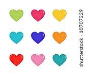 nine shiny hearts in green ... | Shutterstock . vector #10707229