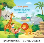 vector illustration with zoo | Shutterstock .eps vector #1070729315