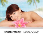 pretty brunette is resting at a ...   Shutterstock . vector #107072969