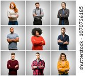 group of mixed people  women... | Shutterstock . vector #1070736185