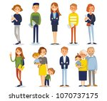 vector set of different people | Shutterstock .eps vector #1070737175