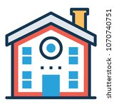 vector icon of a family house  | Shutterstock .eps vector #1070740751