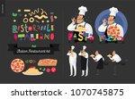 italian restaurant set  ... | Shutterstock .eps vector #1070745875