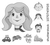 family holiday monochrome icons ... | Shutterstock .eps vector #1070745935