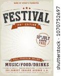 music festival vintage poster ... | Shutterstock .eps vector #1070752697