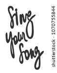 sing your song. sticker for... | Shutterstock .eps vector #1070755844