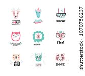 cartoon animal heads bundle.... | Shutterstock .eps vector #1070756237