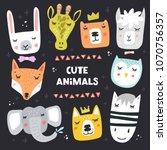 cartoon animal heads bundle.... | Shutterstock .eps vector #1070756357