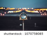 runway at night with colorful... | Shutterstock . vector #1070758085