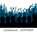 Fans raising hands, a large group of cheering people. - stock vector
