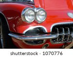 vintage red corvette on display ... | Shutterstock . vector #1070776
