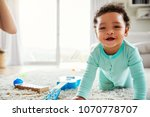 happy mixed race toddler boy... | Shutterstock . vector #1070778707
