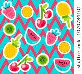 vector summer fruits patterns... | Shutterstock .eps vector #1070784101