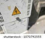 Small photo of Milan, Italy-April 2018: Electric power sign. Danger. Dangerous cabinet. Power supply. Shock risk.