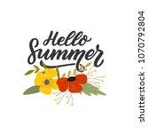 hand drawn lettering hello... | Shutterstock .eps vector #1070792804