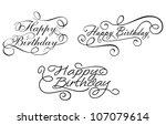 happy birthday calligraphic... | Shutterstock .eps vector #107079614