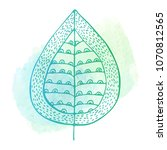 doodle leaf on a watercolor...   Shutterstock . vector #1070812565