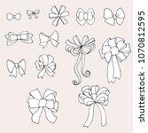 doodle set of bows  raster copy   Shutterstock . vector #1070812595