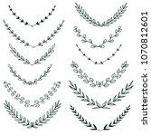 set of hand drawn laurel...   Shutterstock . vector #1070812601