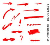 set of hand drawn red arrows   Shutterstock . vector #1070812691