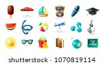 set of real cute beach and... | Shutterstock .eps vector #1070819114