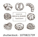 bread and bakery hand drawn set  | Shutterstock .eps vector #1070821739