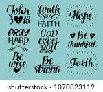set of 9 hand lettering... | Shutterstock .eps vector #1070823119