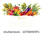 vegetables. set of watercolor... | Shutterstock . vector #1070840591