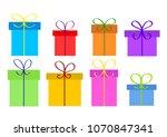 christmas or birthday gift... | Shutterstock .eps vector #1070847341