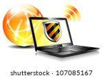 Internet Protection Shield antivirus laptop, firewall digital shield concept - stock vector